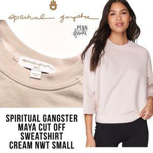 Spiritual Gangster Maya Cut Off Sweatshirt Cream